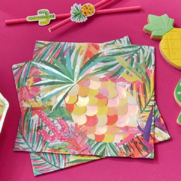 Tropical Hot Summer Paper Napkins - Pack of 16